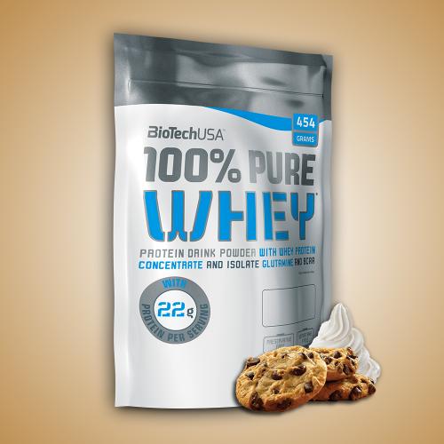 Biotech, 100% Pure Whey, 454 g, 16 ízben, Cookies&cream ízek