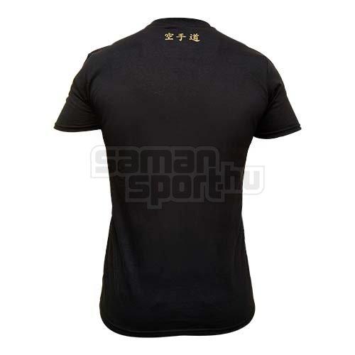 Póló, Saman, Karate-Do Authentic, pamut, fekete, L méret