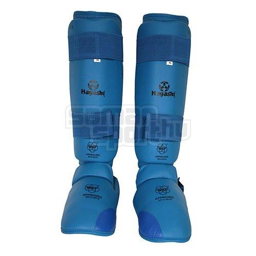Lábfejes lábszárvédő, Hayashi, WKF, Kék szín, S méret