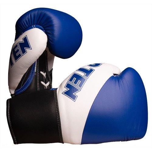 Boxkesztyű, Top Ten, Pro X, valódi bőr, Kék-fehér szín, 10 oz méret