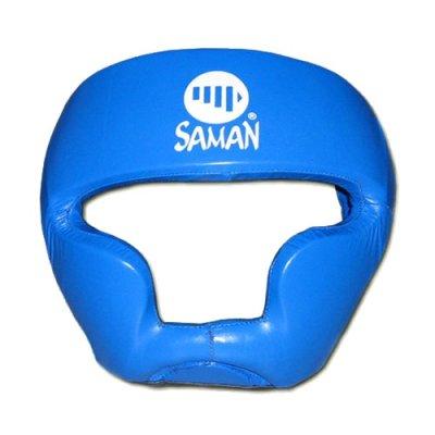 Fejvédő, Saman, SPARRING II, arcvédős, bőr, kék, M méret