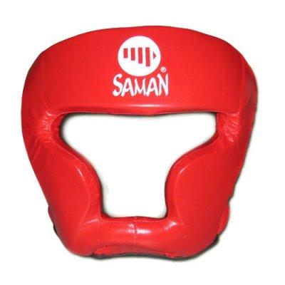Fejvédő, Saman, SPARRING II, arcvédős, bőr, piros, L méret