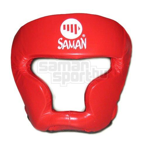 Fejvédő, Saman, SPARRING II, arcvédős, bőr, piros, M méret