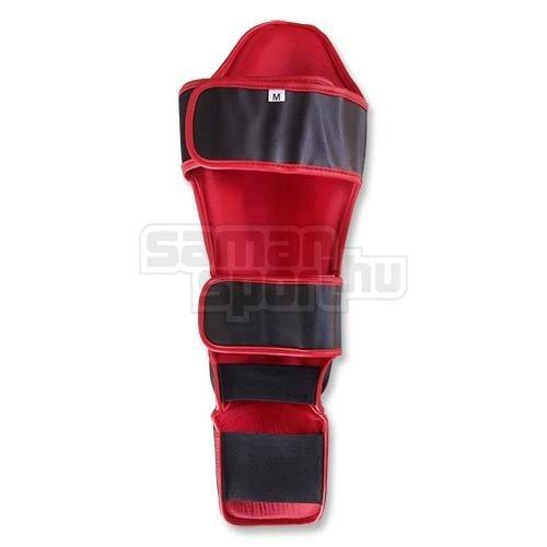 Thai Box Lábszárvédő, lábfejes, Saman, műbőr, fekete, S méret