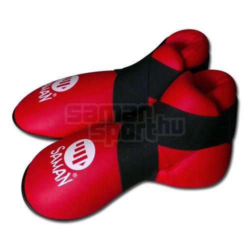 Lábfejvédő, Saman, tépőzáras, PU, piros