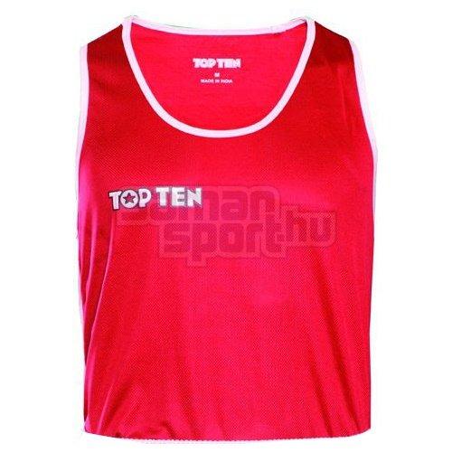 Box felső, TOP TEN, AIBA, piros/fehér, XXL méret