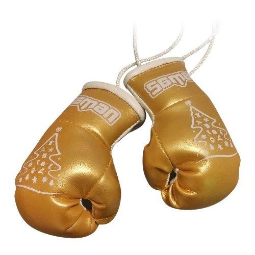 Dísz boxkesztyű, Saman, felakasztós, párban, arany, karácsonyfás