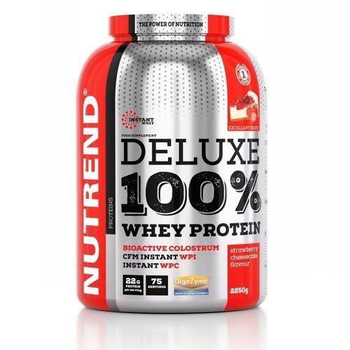 Nutrend, Deluxe 100% Whey Protein, 2250G 7 ízben, Epres sajttorta ízek