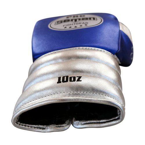 Boxkesztyű, Saman, Event Gloves, bőr, fűzős, kék-ezüst
